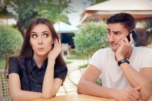Jealousy wife listening