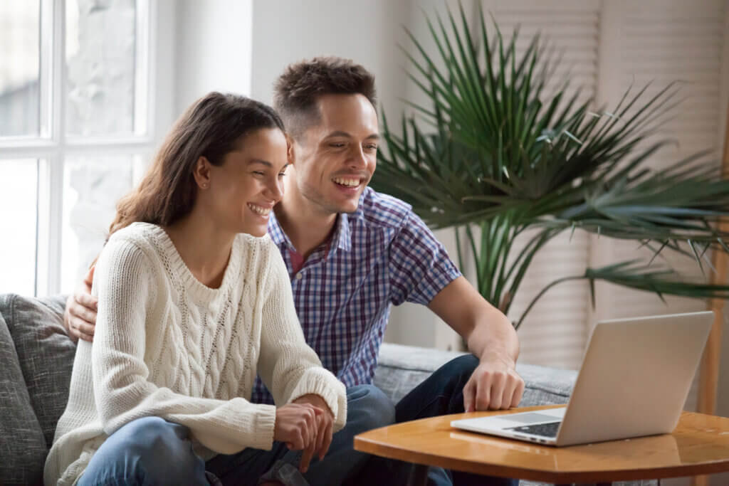 Couple engaging in online couples counseling